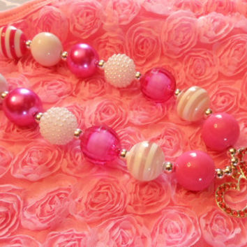 Mickey Hot Pink Chunky Bubblegum Necklace, Girls necklace, Toddler Chunky Necklace, First Birthday, cake smash, photography prop