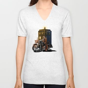 10th Doctor who with Big Motorcycle Unisex V-Neck by Three Second
