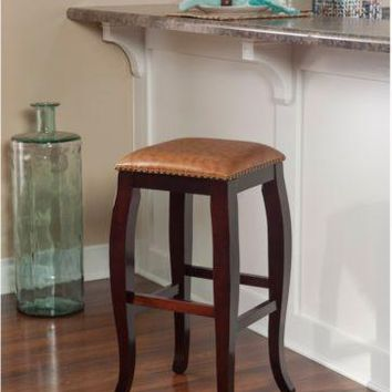 Bar Stool Counter Armless Seat Wood Home Kitchen Dining Accents Antique Brown