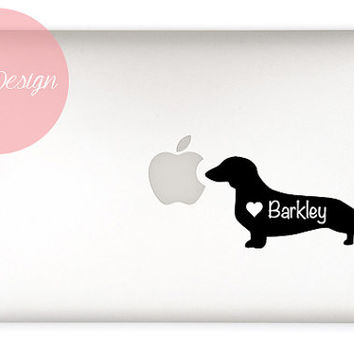 Dachshund Decal - customizable pet name - Weiner dog - Sausage Dog - custom size and color - dog sticker - vinyl - car sticker, car decal