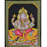 "43""x 32"" Inch India Cotton Canvas Hindu God Ganesha Poster Tapestry on RoyalFurnish.com"