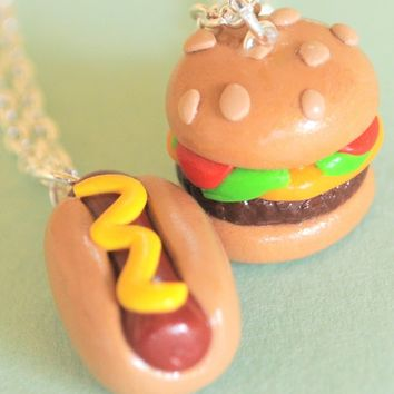 Handmade Hot Dog and Cheeseburger Best Friend Necklaces (Also Great for Couples!)