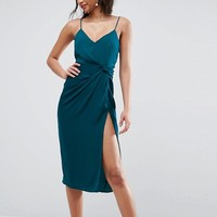 ASOS Hammered Satin Strappy Pencil Midi Dress at asos.com