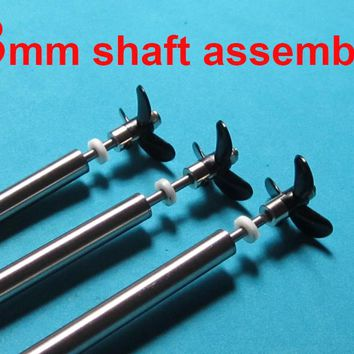 Free Shipping RC Boat Stainless steel 3mm Drive shaft with propeller crutch kit assembly 10/15/20/25cm
