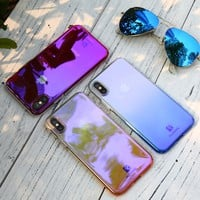 Gradient Hard PC Phone Case For iPhone 6 6S 7 7 Plus Cover Ultra Thin Blue Ray Glitter Case For iPhone X 5 5S SE For iPhone7