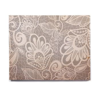 "Petit Griffin ""Lace Flower"" Gray White Birchwood Wall Art"