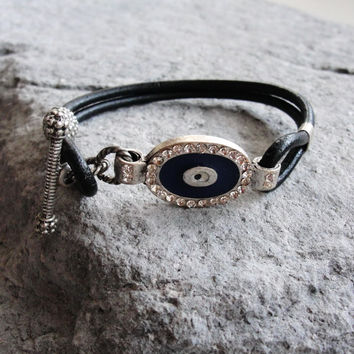 Evil Eye Leather Bracelet Rhinestone Shiny Bling Beach Jewelry Leather, Enamel and Metal