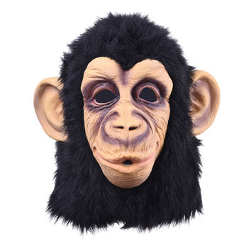 Super Lovely Monkey Head Latex Mask Full Face Adult Mask Halloween Masquerade Fancy Dress Party Cosplay Costume Cute Animal Mask