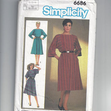 Simplicity 6686 Pattern for Misses' Easy to Sew Pullover Dress, From 1984, Sizes 10, 12, 14, Kimono Sleeves, Gathered Skirt, Home Sewing
