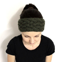 Olive Green Headband, Merino Wool Headband, Dark Green Earwarmer, Warm Hair Band, Wool Head Accessory,Chunky Wool Headband,Headband Ski Wear