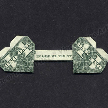 "Dollar Bill Origami DOUBLE HEART ""In God We Trust"" - Great Gift - Made from Money"