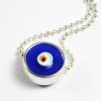 Silver Framed Evil Eye Circle Necklace, Gift, Summer Trends