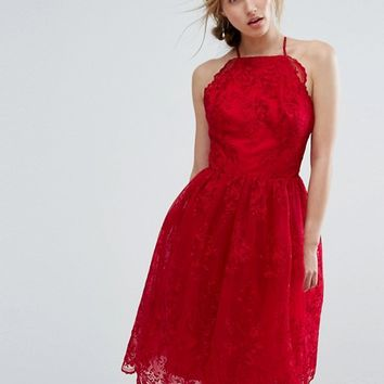 Chi Chi London High Neck Scalloped Lace Dress at asos.com