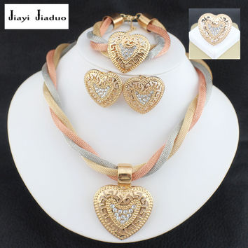 jiayijiaduo Jewelry sets wedding crystal Heart Fashion bridal african gold color necklace earrings Bracelet women sets jewelry
