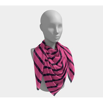 Striped Square Scarf - Navy on Pink