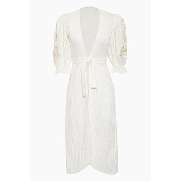 Cotton Embroidery Long Robe Cover-Up - Off White