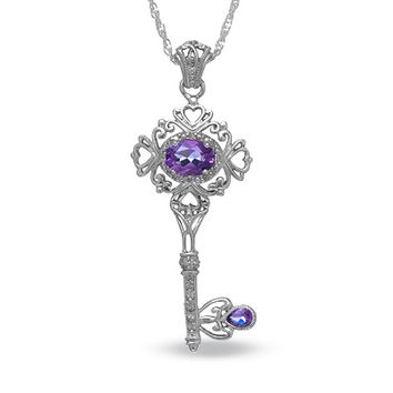 Amethyst Vintage-Style Key Pendant in Sterling Silver with Diamond Accents