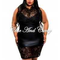 New Plus Size BodyCon in Liquid with Lace Detail Black 1x 2x 3x