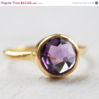 Valentines Day Sale Gold Purple Amethyst Ring - Gemstone Ring, Stackable ring - February Birthstone Ring