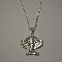 A Pewter Winged Goddess Isis on a 4x3mm Silver by IMAGINEbyTLC