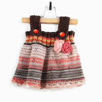 Knitted Baby Girl Dress - Brown, Orange and Gray, 3 - 6 months