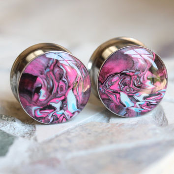 "5/8"" Pink Plugs, 16mm Pink Gauges, Clay Gauges, Art Plugs, Double Flare, Modified Ears - size 5/8"" (16mm)"