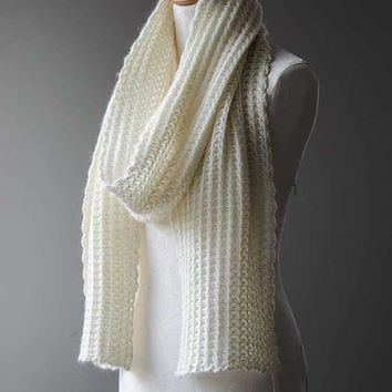 "Knitted angora scarf chunky scarf ribbed scarf unisex scarf in white cream ""Plume"""