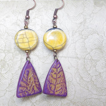 Flower floral Earring dangle , raku ceramic Polymer clay jewelry ,Yellow Purple Earrings ,