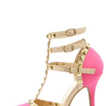 Wild Diva Lounge Adora 55 Neon Pink Studded Pointed Heels