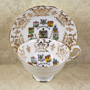 Vintage Paragon Canada Coats of Arms English Bone China Tea Cup and Saucer