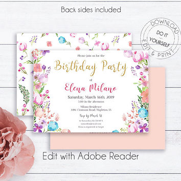 Floral Birthday Gold Glitter Invite, Birthday Invitations, Party Invite, Editable Birthday, Pink and Gold, Card Template,Invitation Template