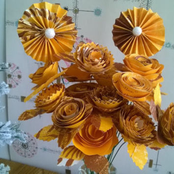 Childrens book Paper flowers bouquet dozen & half roses on stem recycled picture book shower decoration party decor orange gold yellow brown