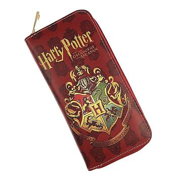 Free Shipping Harry Potter Long Wallet Hogwarts Gryffindor Cool Design Female Round Zipper Fashion Long Purse Card Holder