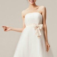 Sweet Strapless Tulle Mini Dress With Bow Detail - OASAP.com