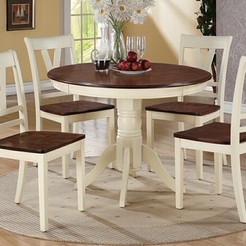5 pc Erin I collection cream finish wood legs and cherry finish wood tops round dining table set with wood top seats