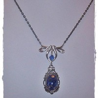 Antique Silver and Vintage Sapphire Blue Victorian Style Necklace