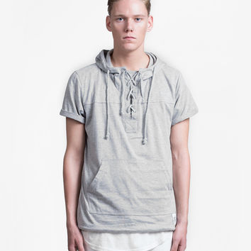 Half Sleeve Drawcord Hoodie in Heather Gray