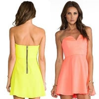 V-Neck Strapless Zipper Back A-Line Dress