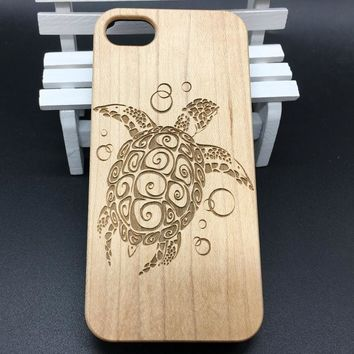 Sea Turtle iPhone 8 X 7 7 Plus 6  6s Plus 5 5s Case Tribal Turtle Tattoo Wooden Phone Case Cover White Maple Wood