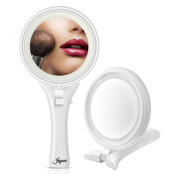 Jayuer LED Lighted Makeup Mirror Magnification Double Sided Hand Held Folded ...