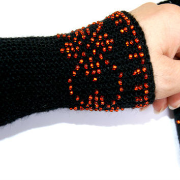 Handmade  Beaded black  Wrist warmers with red roses ornament, cuffs with beads, wool,  Ready to ship