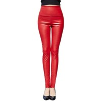 2017 Thicken Winter PU Leather women pants high waist elastic fleece stretch Slim woman pencil pants skinny trousers 25 colors