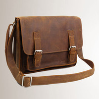 Mens Leather Briefcase Laptop Messenger Bag