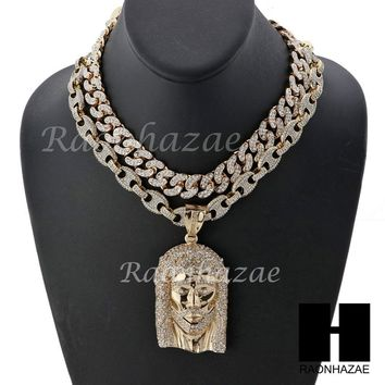 "Iced Out Large Cross Pendant 16"" Iced Out Choker 18"" Puffed Gucci Chain Set G41"