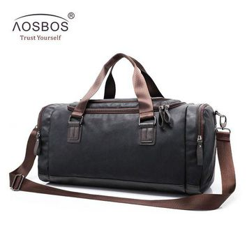 DCCK7N3 Aosbos New PU Leather Gym Bag Training Sports Bag for Women Men Fitness Bags Outdoor Shoulder Traveling Storage Duffel Handbags