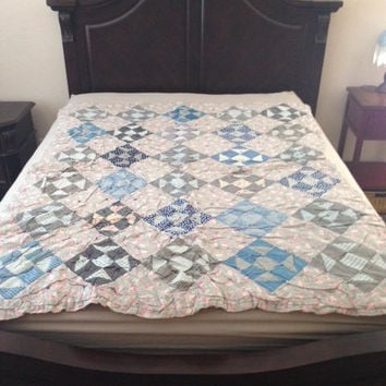 Diamond Block Machine Pieced Quilt 1920's Vintage