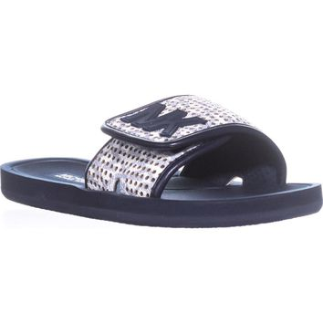 MICHAEL Michael Kors MK Slide Casual Sandals, White/Navy, 8 US / 38.5 EU