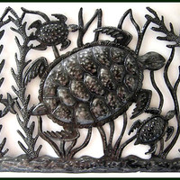 """Out For A Swim - Haitian Metal Steel Drum Turtle Wall Decor - 24"""" x 18"""""""