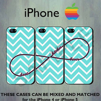 Best Bitches Forever Infinity Blue Chevron iPhone case - iPhone 4 case or iPhone 5 case - Three Case Set