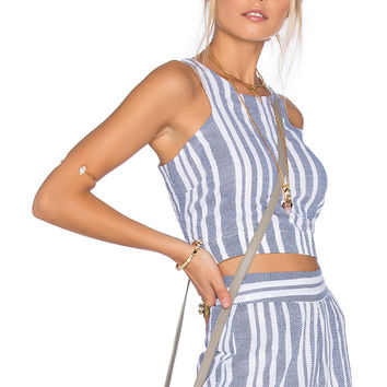 Tularosa Marley Crop Top in Blue & White